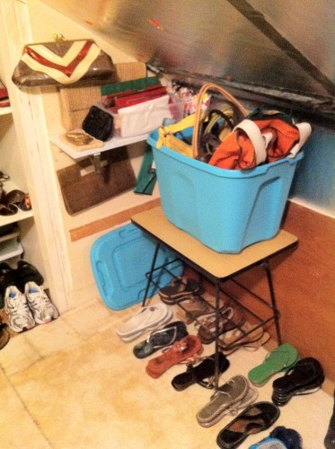 shoe storage, purse storage
