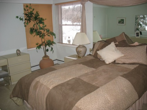 beige lamps, old owner bedroom