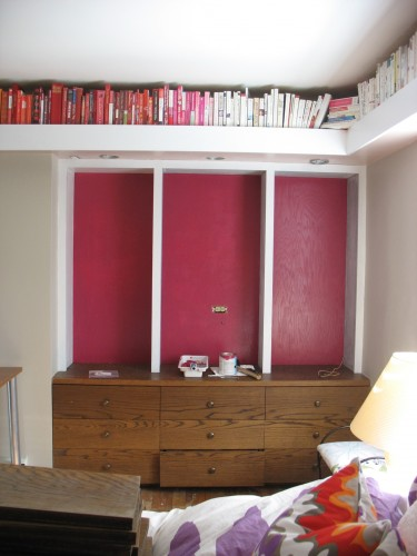 Built-in bookcases, purple room, office, study, guest bedroom